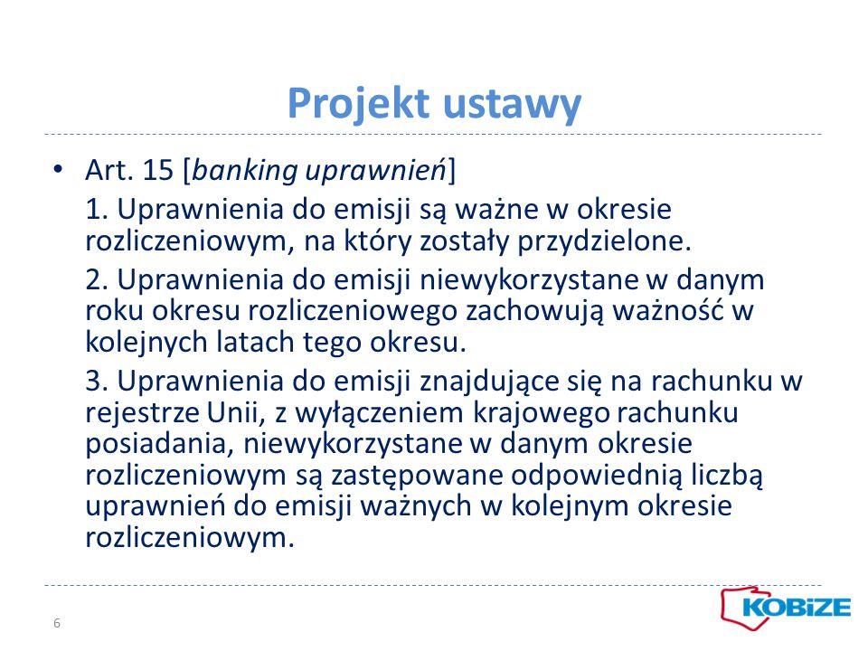Projekt ustawy Art. 15 [banking uprawnień]